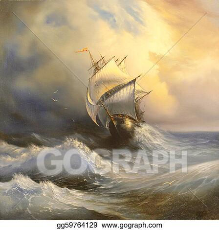 Ancient sailing vessel in stormy sea