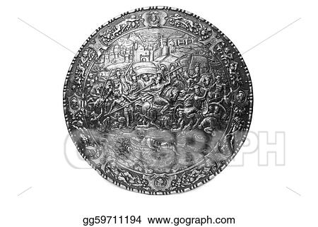 Ancient warrior shield with Carthago battle pattern