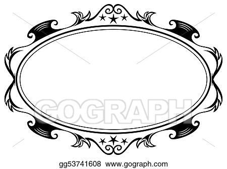 Antique oval frame Vintage Oval Frame Drawings