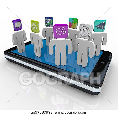App People Standing on Smart Phone