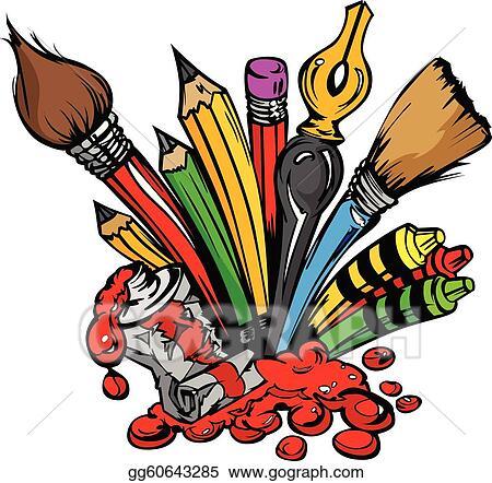 EPS Vector - Art supplies vector cartoon. Stock Clipart ...