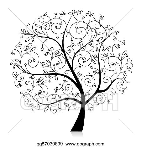 Vector Art - Art tree beautiful, black silhouette for your design ...