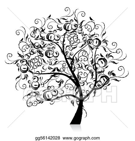 Vector art art tree beautiful black silhouette clipart for Beautiful drawings of trees