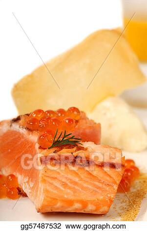Asian salmon served with caviar and pumpkin soup