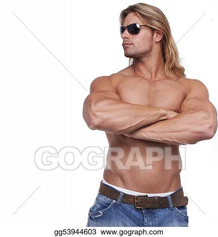 Athletic sexy male body builder with the blonde long hair. gladiator wearing sunglasses
