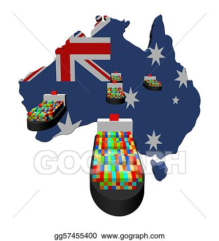 Australia map flag with container ships