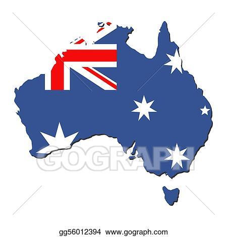 Stock Illustration - Australia map flag. Clipart gg56012394 - GoGraph
