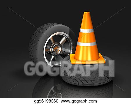 Automotive Wheel and Traffic Cone