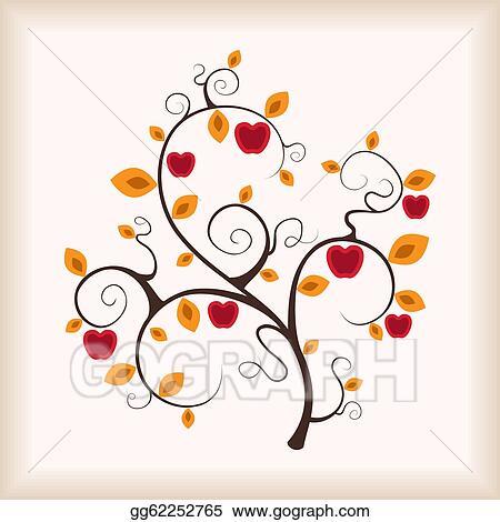 Autumn apple-tree  Fall Tree Illustration