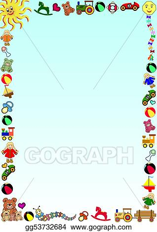 Vector Clipart - Gradient colored background with a border out of little colored toys. Vector Illustration gg53732684