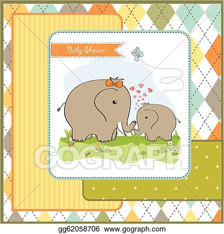 drawings baby shower card with baby elephant and his mother stock