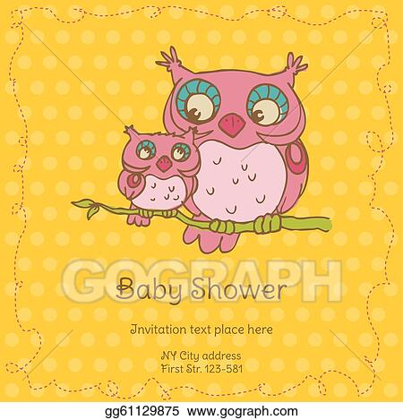 baby shower card with owls with place for your text in vector