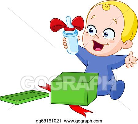 Stock illustration baby with christmas gift clip art gg68161021