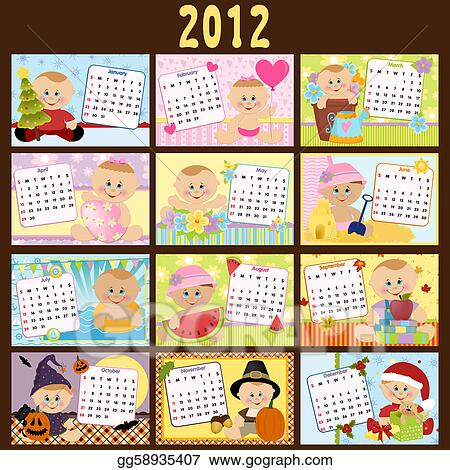 vector of babys monthly calendar for september 2012 with