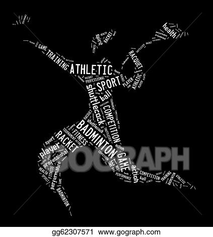 Clip Art - Badminton player pictogram with white color words on ...
