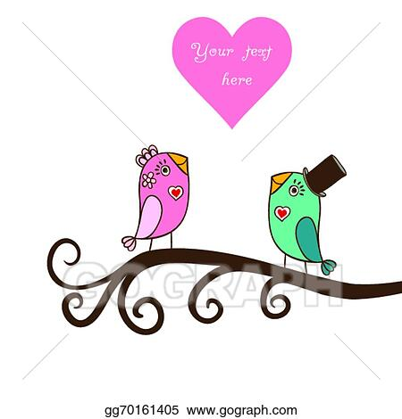 EPS Vector - Beautiful birds in love.illustration of cartoon birds ...