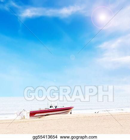 Beautiful boat on beach under blue sky and clouds with high light processing