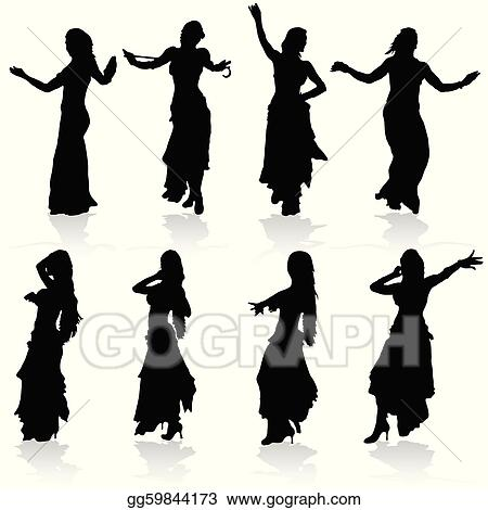 Vector Clipart - Belly dancing black woman silhouette. Vector ...