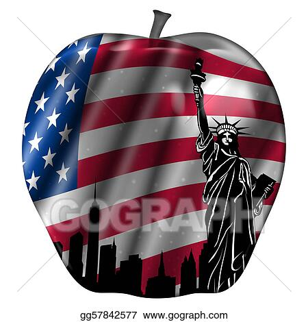 Big Apple with USA Flag and New York Skyline