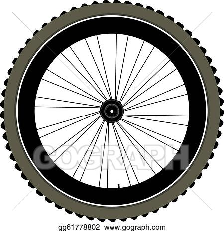 Stock illustration bike wheel with tire and spokes for Bike tire art