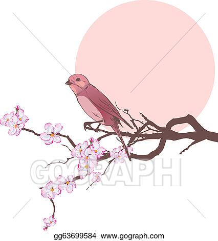Bird on the branch of cherry tree eps 10 stock clipart gg63699584