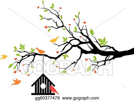 Bird House On Spring Tree Vector Gg60377479