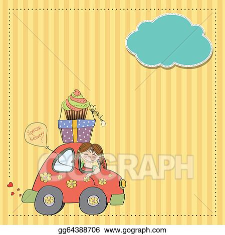 Drawing birthday card with funny little girl in vector format