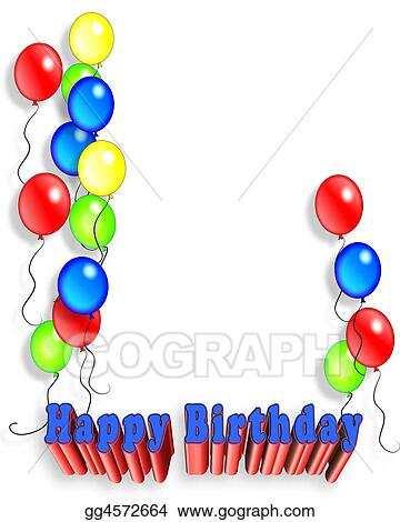 Clipart - Birthday Balloons illustration for invitation, background ...