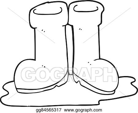 Clip Art Vector - Freehand drawn black and white cartoon wellington boots  in puddle. Stock EPS gg84565317