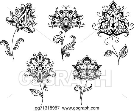 Vector Clipart - Black and white floral motifs in persian style ...