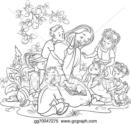 EPS Illustration - Black and white jesus with children. Vector ...
