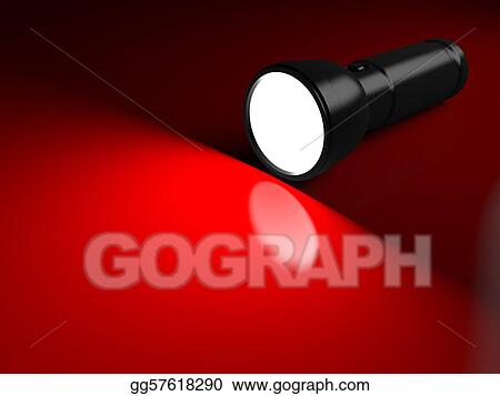 Black flashlight lighting the red surface