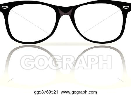 Black Frame Glasses Drawing : Vector Illustration - Black glasses frames. EPS Clipart ...