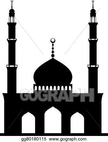 Vector Art - Black mosque on white. Clipart Drawing ...