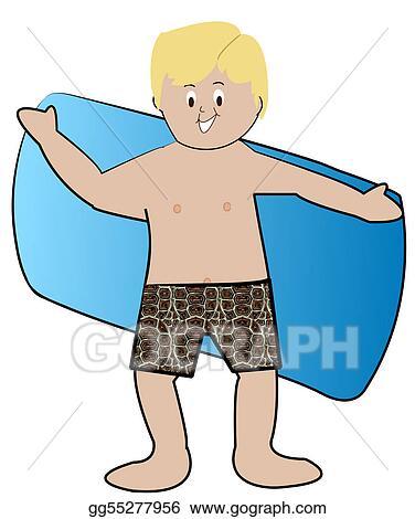 Stock Illustration - Blond boy in swim trunks drying off ...