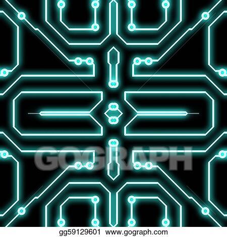 clip art  blue circuit diagram glowing. stock illustration, wiring diagram