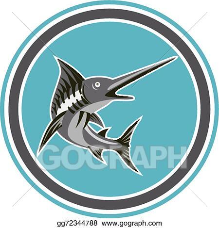 Vector Stock - Blue marlin fish jumping circle retro. Clipart ...