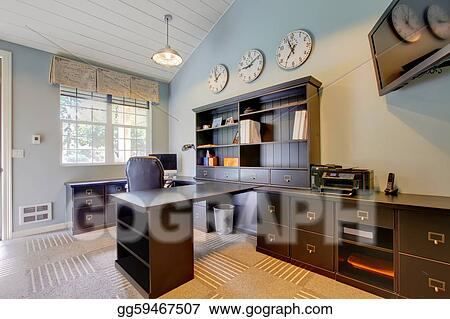 Interior Office Design on Stock Photograph   Blue Modern Home Office Interior Design With Dark