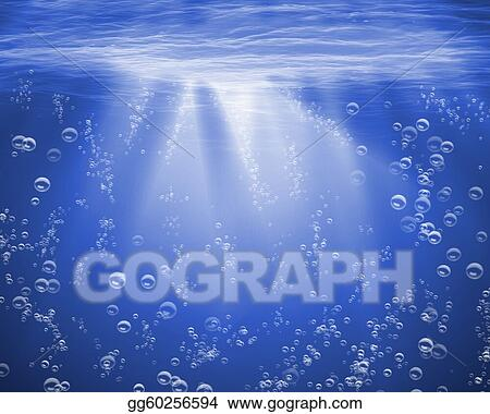Clip art illustration of blue sea underwater with air bubbles stock