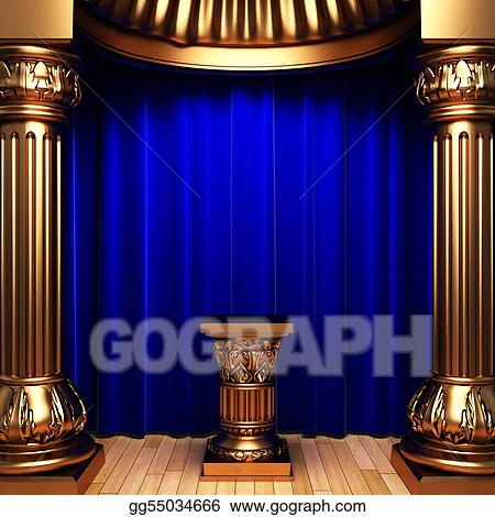 Curtains Ideas blue velvet curtains : Stock Illustration - Blue velvet curtains, gold columns and ...
