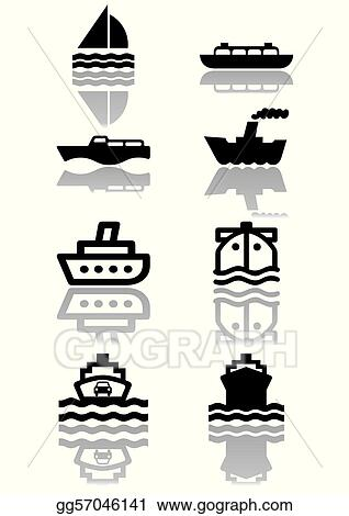 Clipart vector set of different boat illustrations or symbols all
