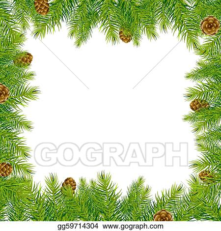 Border With Christmas Tree And Pine Cone