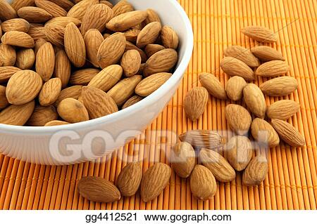 Bowl of fresh almonds