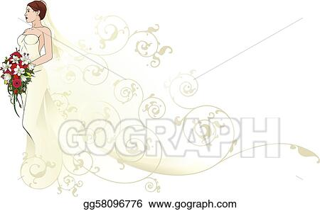 Vector Art - Bride beautiful wedding dress pattern background ...