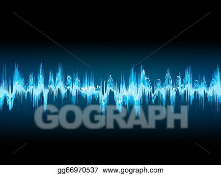 Vector Illustration - Bright sound wave on a dark blue. eps 10. Stock Clip Art gg66970537 - GoGraph