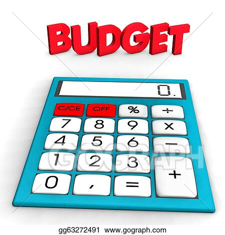 """Clipart - A calculator with red text """"budget"""". white background. Stock ..."""