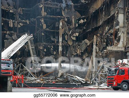 Burned down shopping mall