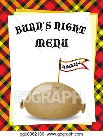 vector clipart burn 39 s night menu vector illustration
