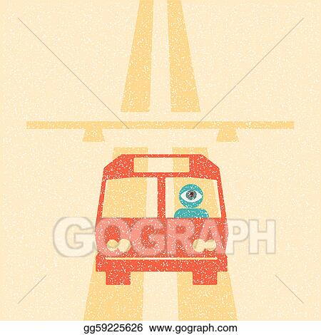 Bus driver on the highway retro poster