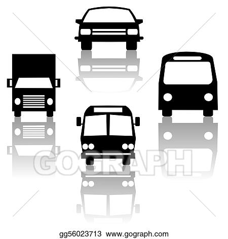 bus truck car and train silhouettes
